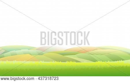 Spring Juicy Meadow. Isolsted On White Background. Rural Landscape With Grass And Orchard Farmer Hil