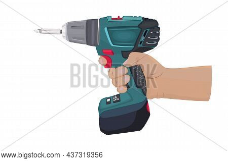 Drill In The Hand Isolated On White Background. Cordless Drill In Arm Of A Master. Hand Holding Cons