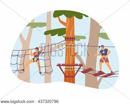 People Overcome Obstacle In Adventure Park, Flat Vector Illustration.