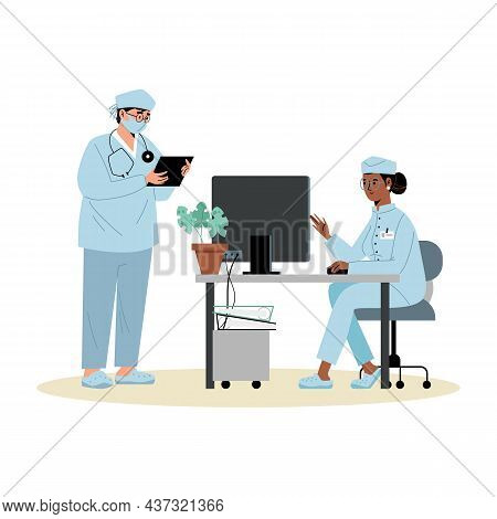 Doctors Or Hospital Medical Staff Characters Flat Vector Illustration Isolated.