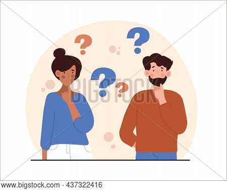 Worried People Concept. Confused Man And Woman Ask Questions And Look For Answers. Characters Find S