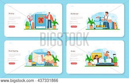 Book Binding Web Banner Or Landing Page Set. Printing House Technology
