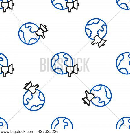 Line World News Icon Isolated Seamless Pattern On White Background. Breaking News, World News Tv. Co