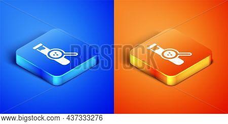 Isometric Test Tube And Flask Chemical Laboratory Test Icon Isolated On Blue And Orange Background.