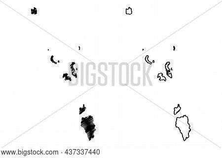 Nicobar District (andaman And Nicobar Islands Union Territory, Republic Of India) Map Vector Illustr