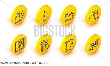 Set Line Bar Of Soap With Foam, Trash Can, And Garbage Bag, Squeegee, Scraper, Wiper, Water Tap, Was