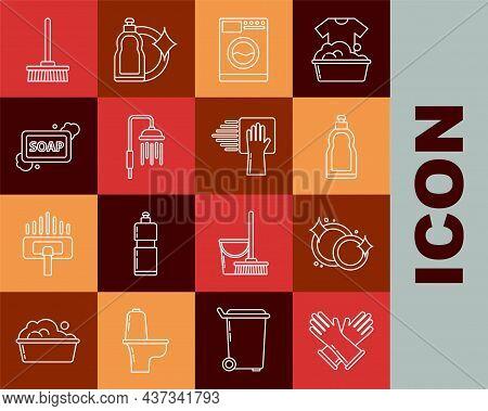 Set Line Rubber Gloves, Washing Dishes, Plastic Bottles For Liquid Dishwashing Liquid, Washer, Showe
