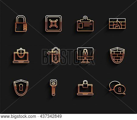 Set Line Shield With Keyhole, Key, Safe Combination Lock, Laptop And, Protection Of Personal Data, D