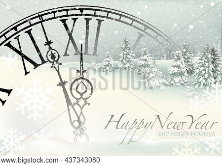 Happy New Year Background With Snowy Landscape And Dial Clock And Snowflakes - Wintry Illustration,