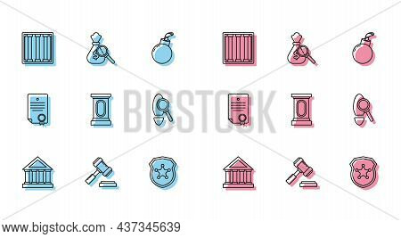 Set Line Courthouse Building, Prison Window, Police Badge, Stage Stand Or Debate Podium Rostrum, Mag