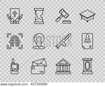 Set Line Walkie Talkie, Judge Gavel, Envelope, Oath On The Holy Bible, Map Marker With Silhouette Of