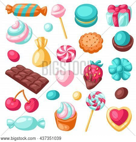 Set Of Various Candies And Sweets. Confectionery Or Bakery Stylized Illustration.