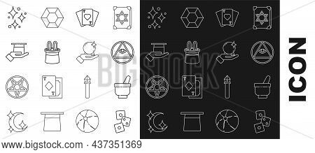 Set Line Game Dice, Magic Mortar And Pestle, Masons, Playing Cards, Magician Hat Rabbit Ears, Hand,