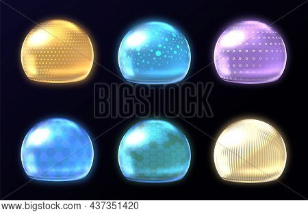 Different Energy Protection Spheres Set. Science Fiction Deflector Elements, Firewall Absolute Prote