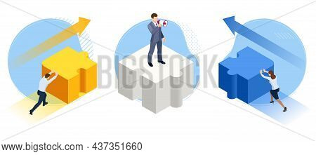 Isometric People Connecting Puzzle Elements Concept. Teamwork Support. Cooperation. Business Interac