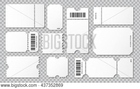 Empty Ticket Template. Concert Movie Theater And Boarding Blank White Tickets, Lottery Coupons With