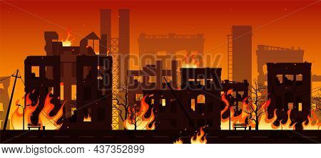 Burning City Ruins In Fire, Destroyed Town Houses, War Or Natural Disaster Background. Vector Illust