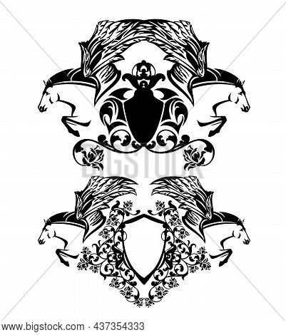 Pair Of Flying Pegasus Horses With Heraldry Shield Among Rose Flowers - Black And White Animals With