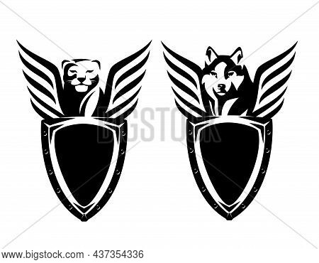 Metal Shield Holded By Panther And Wolf With Stylized Striped Wings - Black And White Vector Securit