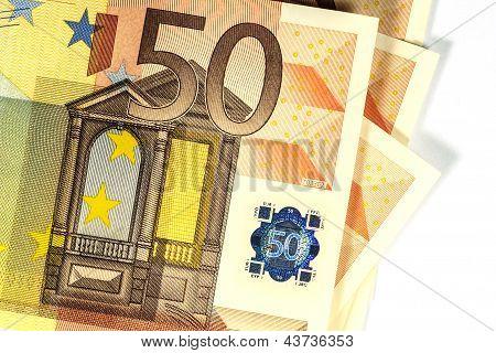 50 Euro Banknote Showing Halogram, Closeup, White Background