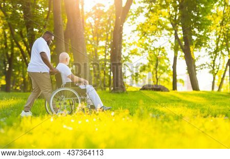 Caregiver and old man in a wheelchair. Professional nurse and patient walking outdoor in the park at sunset. Assistance, rehabilitation and health care.