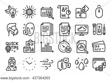 Vector Set Of Windy Weather, Report And Medical Calendar Line Icons Set. Calendar Report, Money Wall