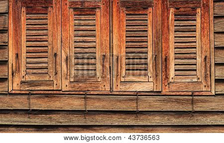 Old Wooden Windows, 4 Closed, Oriental Style