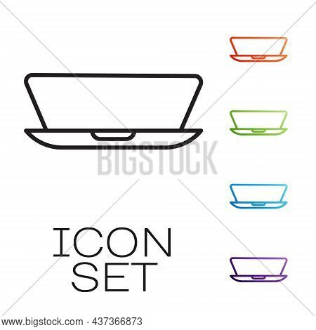 Black Line Laptop Icon Isolated On White Background. Computer Notebook With Empty Screen Sign. Set I