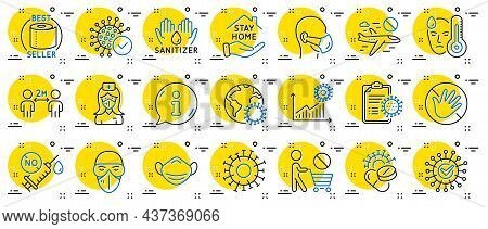 Coronavirus Line Icons. Medical Mask, Washing Hands Hygiene, Protective Glasses. Stay Home, Hands Sa