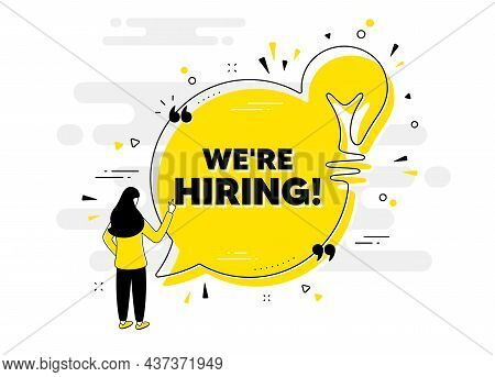 We Are Hiring Text. Idea Chat Bubble Banner With Person. Recruitment Agency Sign. Hire Employees Sym