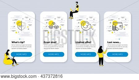 Vector Set Of Line Icons Related To Reload, Parcel Shipping And Uv Protection Icons. Ui Phone App Sc