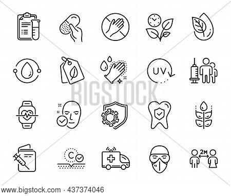 Vector Set Of Ambulance Car, Dental Insurance And Cold-pressed Oil Line Icons Set. Medical Analyzes,