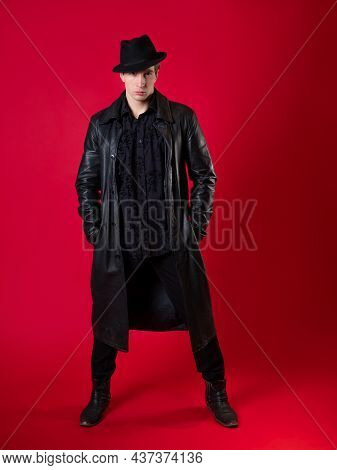 A Young Charismatic Man In Black Clothes, The Hero Of A Noir Story, A Dark Style, A Detective Or A S