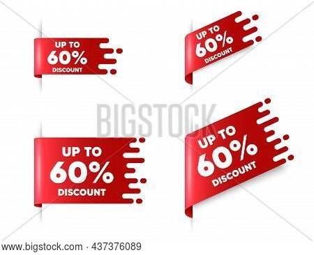 Up To 60 Percent Discount. Red Ribbon Tag Banners Set. Sale Offer Price Sign. Special Offer Symbol.