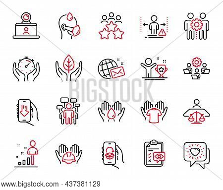 Vector Set Of People Icons Related To Safe Water, Sick Man And Employees Teamwork Icons. Download Ap