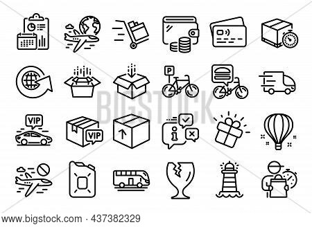 Vector Set Of Bicycle Parking, Package And Get Box Line Icons Set. Calendar Report, Money Wallet And