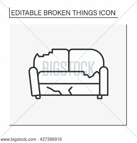 Sofa Line Icon. Destroyed Furniture. Smashed Couch In Living Room. Vandalism, Chaos. Broken Things C