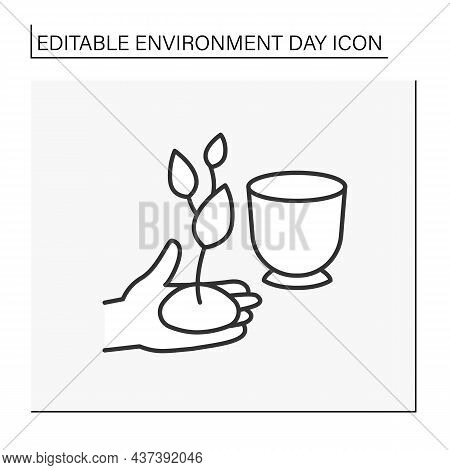 Gardening Line Icon. Plant Flower In A Pot. Nature Care And Protection.greening Environment. Environ