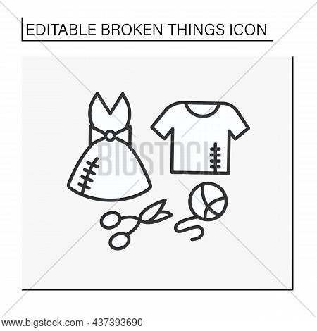 Clothing Line Icon. Torn Clothes. Lacerated T-shirt And Dress. Repair By Needle And Thread. Damaged
