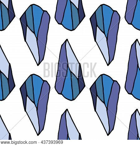 Blue Crystal Pattern In Flat Style. A Seamless Pattern Of A Hand-drawn Mineral Of Bright Blue, With