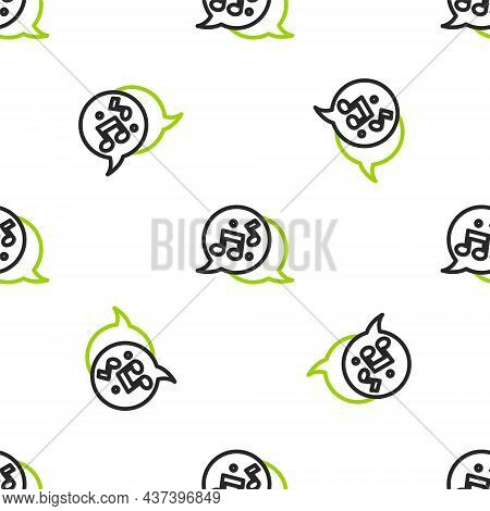 Line Music Note, Tone Icon Isolated Seamless Pattern On White Background. Vector