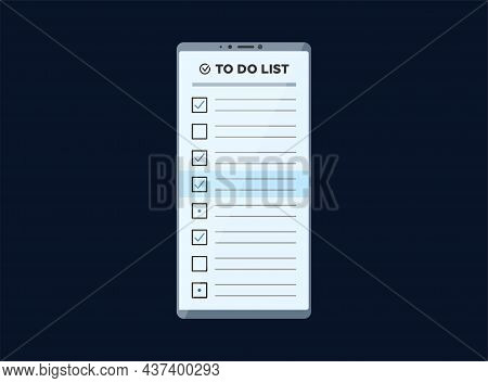Smartphone With To Do Check List App On Display Screen. Vector Mobile Phone Todo Application Illustr