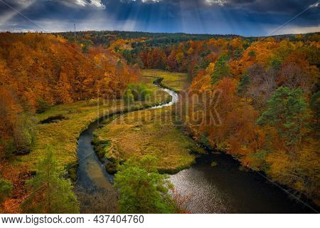 Autumnal landscape of the forest and twisted Radunia river in Kashubia. Poland
