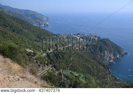 View On Corniglia And The Coast Of The 5 Terre In The Ligurian Sea From The Town Of San Bernardino