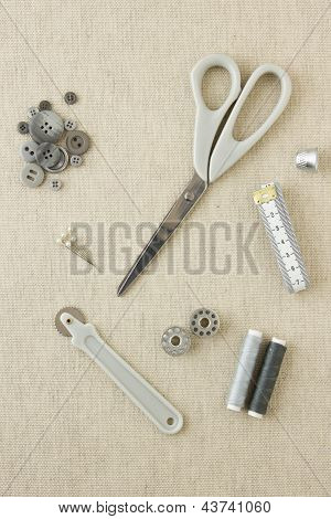 Sewing Accessories In Grey Tones