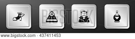 Set Hermes Sandal, Masons, Vampire And Bottle With Love Potion Icon. Silver Square Button. Vector