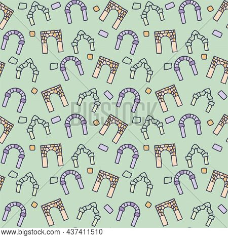 Medieval Arch Color Vector Doodle Simple Seamless Pattern