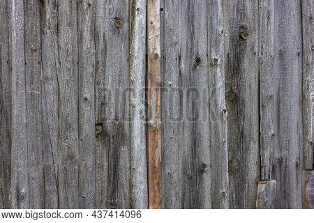 Old Dry Weathered Gray Wooden Planks Board Surface - Full Frame Background And Texture.
