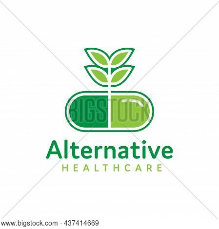 Green Capsule Herbal Medicine Logo Isolated On White Background, Natural Alternative Health Care, Me
