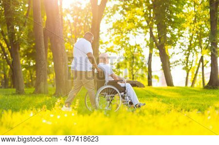 Caregiver And Old Man In A Wheelchair. Professional Nurse And Patient Walking Outdoor In The Park At